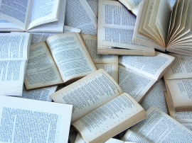 a scattering of open books