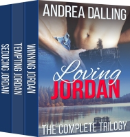 Book cover of Loving Jordan featuring a gay couple at a mountain lake